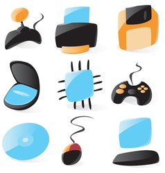 Smooth pc hardware icons vector image