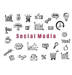 Social media business doodles vector image