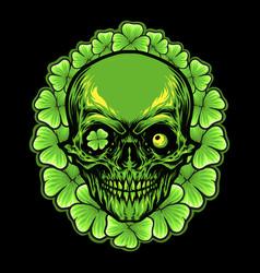 st patrick skull leaf clover frame vector image