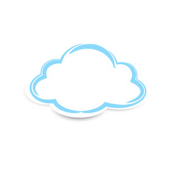 sticker clouds with shadow on white background vector image