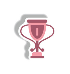 Stylish icon in paper sticker style cup winner vector