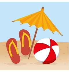 Summer beach flip flop ball and umbrella vector
