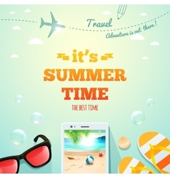 Summer poster Its Summer Time typographic vector image