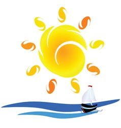 sun and boat on the sea vector image vector image
