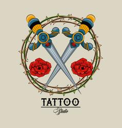 tattoo studio old school vector image