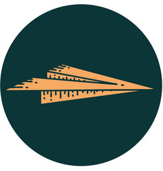 Tattoo style icon a paper aeroplane vector