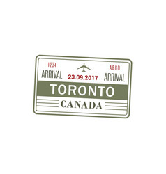 toronto airport stamp isolated vector image