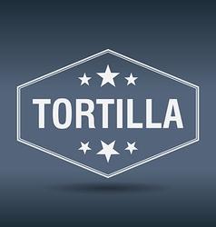 Tortilla hexagonal white vintage retro style label vector