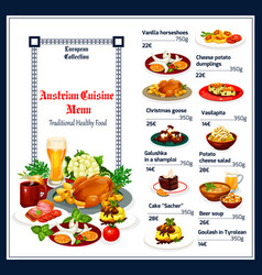 Traditional austrian cuisine menu dishes vector