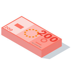 Two hundreds euro banknotes stacks isolated vector