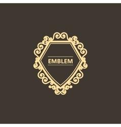 Vintage gold emblem with decorative elements vector image