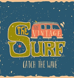 Vintage summer surf print with a mini van and 70s vector