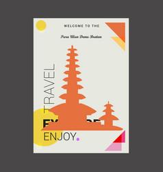 welcome to the pura ulun bratan bali island vector image