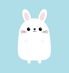 white bunny rabbit funny head face cute kawaii vector image