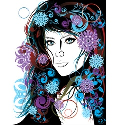 Winter girl with floral11 vector