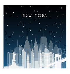 Winter night in new york night city in flat style vector