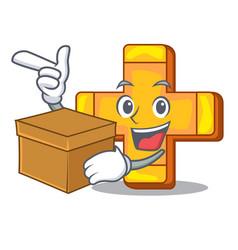 With box cartoon plus sign logo concept health vector
