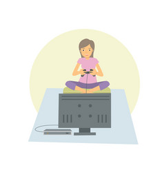 young woman playing games on her flat television vector image