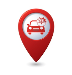 car with air conditioner icon on red pointer vector image vector image
