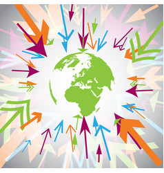earth with colorful arrows vector image