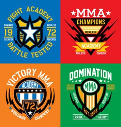 Fight academy MMA emblems vector image vector image