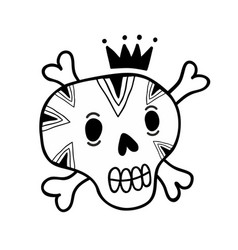 funny doodle skull with bones and crown vector image