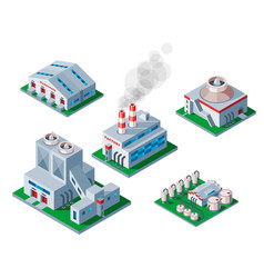 isometric factory building icon industrial element vector image