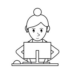 pictogram girl using computer working vector image