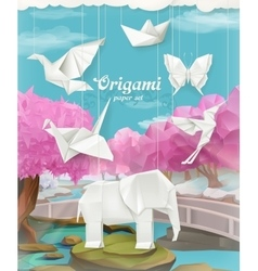 Origami paper set vector image vector image