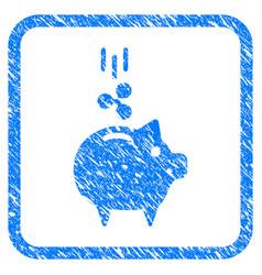Ripple piggy bank framed stamp vector