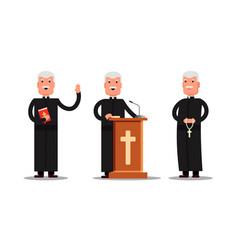 set pastor character standing with cross bible vector image