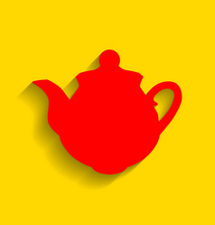 tea maker sign red icon with soft shadow vector image