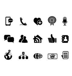 Blog social media icons set vector