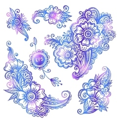 Blue hand-drawn flowers set vector image vector image