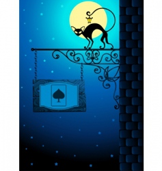 cat in the moonlight vector image