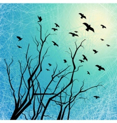flying birds and tree branches vector image
