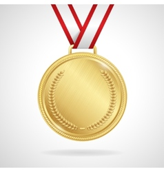 gold medal with ribbon vector image vector image