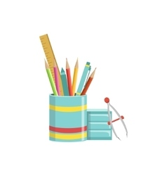 Set school utensils to education knowledge vector image set of school utensils in plactic cup vector image voltagebd Images