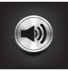 Speaker volume icon on silver button vector image