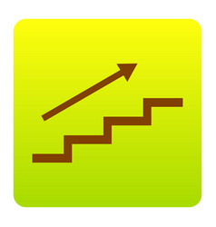 stair with arrow brown icon at green vector image