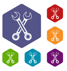 crossed spanners icons set vector image