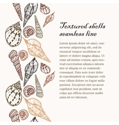 Doodle textured shells seamless line background vector image