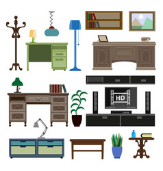 Home room and workplace furniture pieces and vector