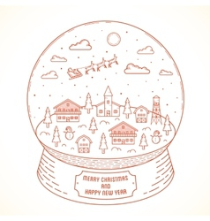 Line Style Christmas and New Year Snowball Town vector image
