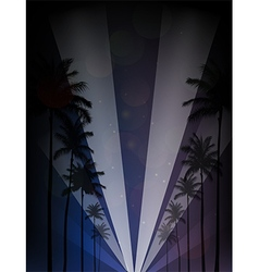Palm trees silhouettes reflection vector image