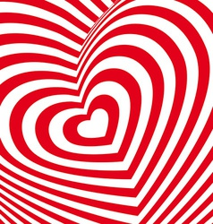 Red heart Valentines day card Three-dimensional vector image