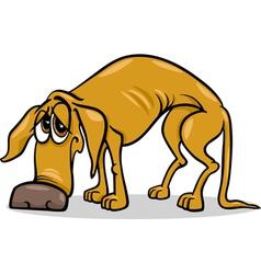 sad homeless dog cartoon vector image vector image