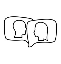 Silhouette relief rectangular speech with dialogue vector