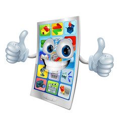 smiling mobile phone mascot vector image vector image