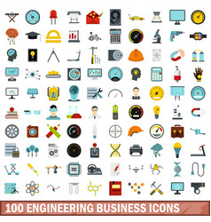 100 engineering business icons set flat style vector